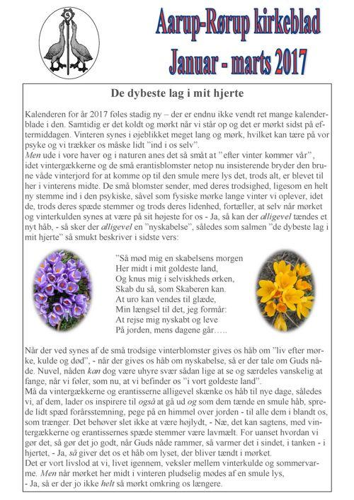 Kirkeblad Januar-marts  Aarup-Rørup 2017
