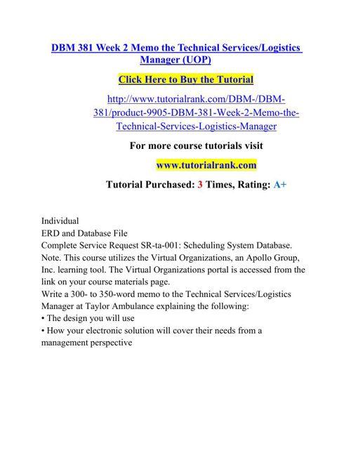 DBM 381 Potential Instructors / tutorialrank.com