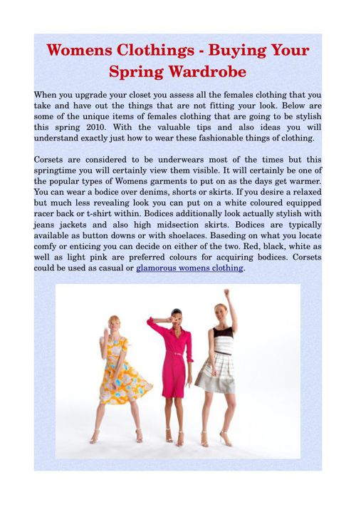 Womens Clothings - Buying Your Spring Wardrobe