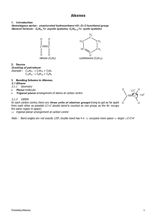 HKAL Section 12.2 (Alkenes)