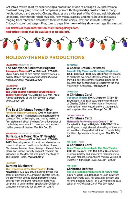 ChicagoPlays Theatre Guide: Holiday 2015
