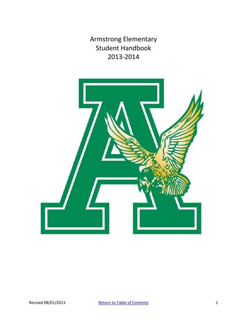 Armstrong Elementary Student Handbook 2013-14