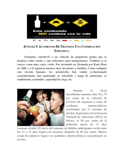 JÓVENES Y ACCIDENTES DE TRÁNSITO