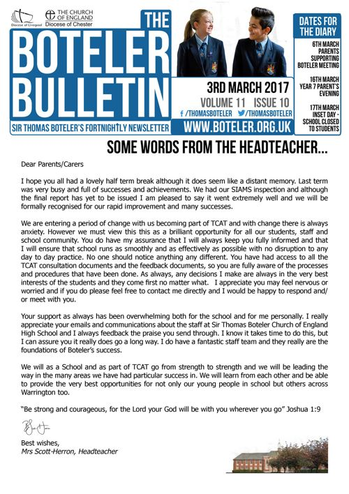 Boteler Bulletin 3rd March 2017