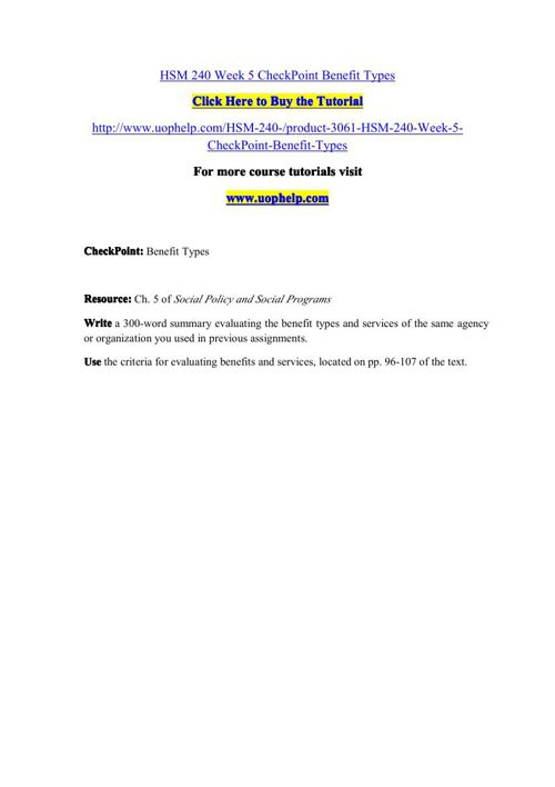 HSM 240 Week 5 CheckPoint Benefit Types