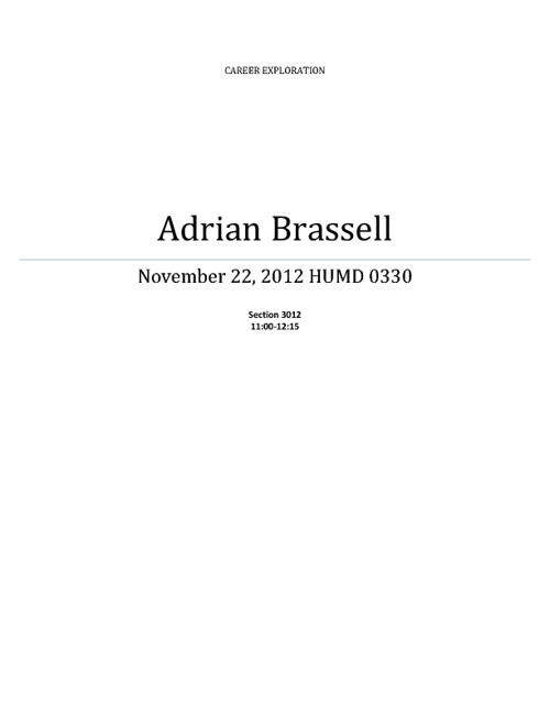 "Adrian Brassell ""Career Project"""
