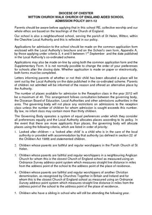 New FlipAdmitton Church Walk Admission policy
