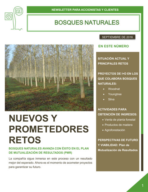 Bosques Naturales Newsletter. Septiembre 2016