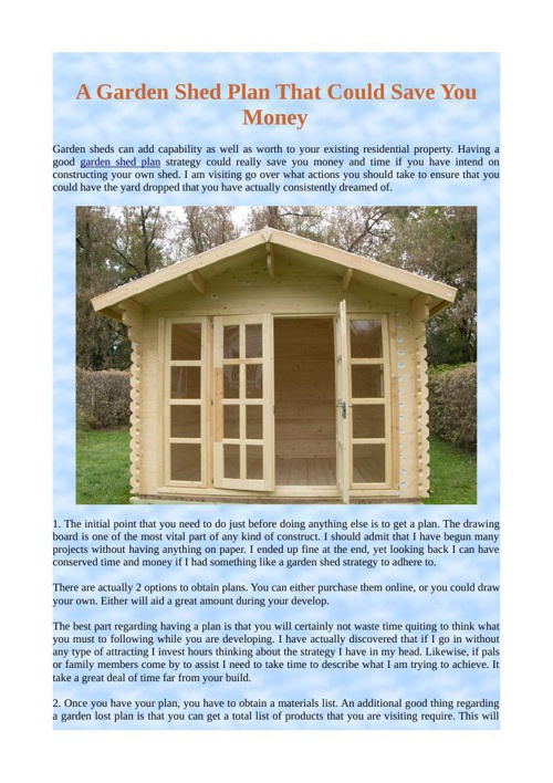A Garden Shed Plan That Could Save You Money