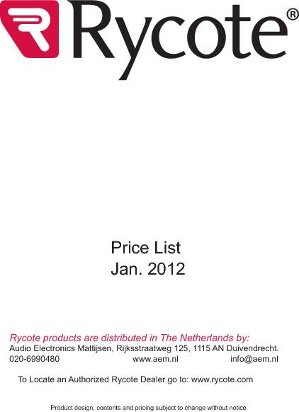 Rycote prijslijst Januari 2012