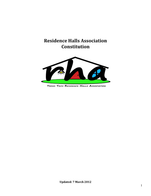RHA Constitution and Bylaws