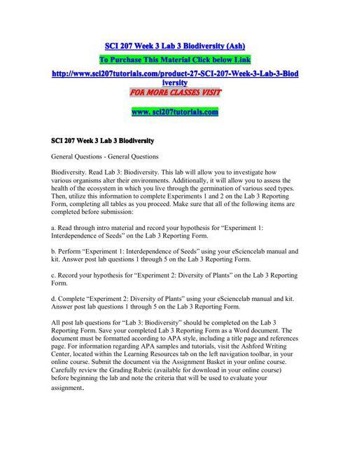 SCI 207 Week 3 Lab 3 Biodiversity (Ash)