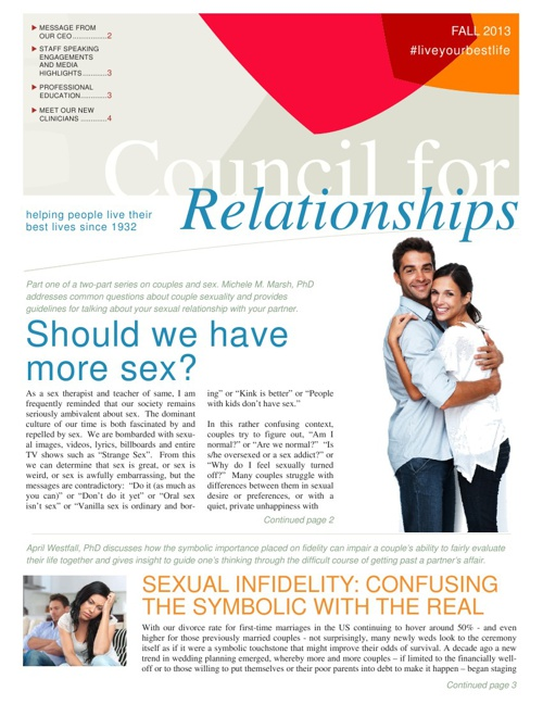 Council for Relationships Fall 2013 Newsletter
