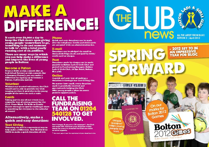 The Club: Bolton Lads & Girls Club newsletter April 2012