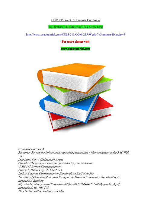 COM 215 Week 7 Grammar Exercise 4
