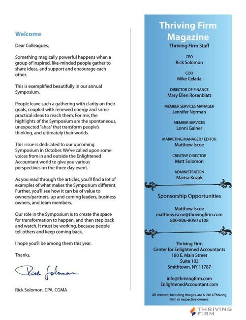 Thriving Firm Magazine August 2014 - Symposium Edition