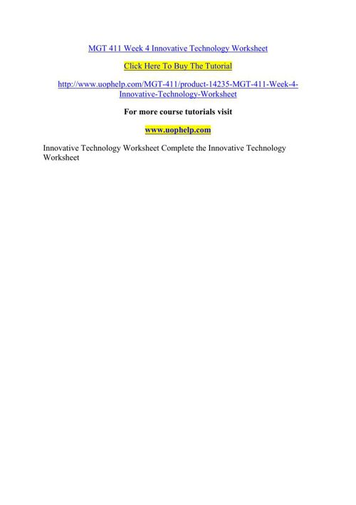 MGT 411 Week 4 Innovative Technology Worksheet