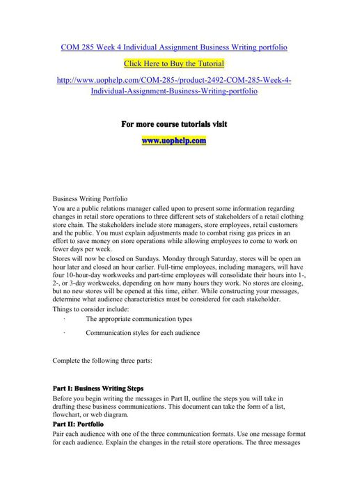 COM 285 Week 4 Individual Assignment Business Writing portfolio