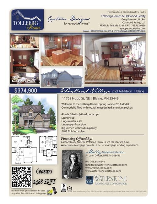 Tollberg Homes Blaine Model Home Sheet