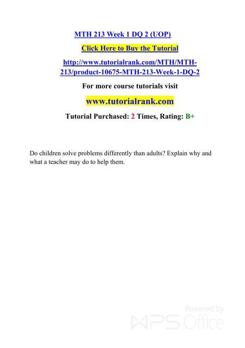 MTH 213 UOP Courses /TutorialRank