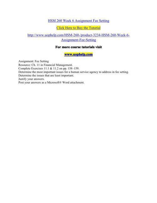 HSM 260 Week 6 Assignment Fee Setting