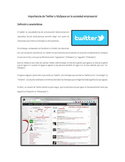 Importancia de Twitter y MySpace en la sociedad empresarial