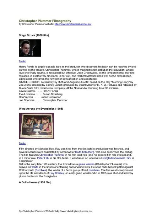 Christopher Plummer  Full Filmography