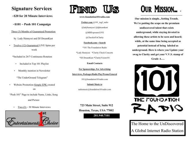 101 The Foundation Radio Brochure