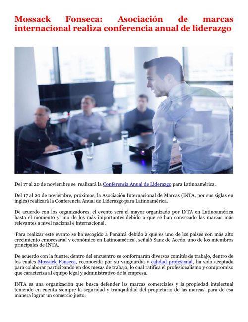 Mossack Fonseca: Asociación de marcas internacional realiza conf