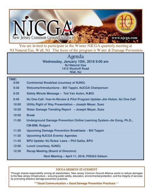 NJCGA  Agenda January 10th 2018