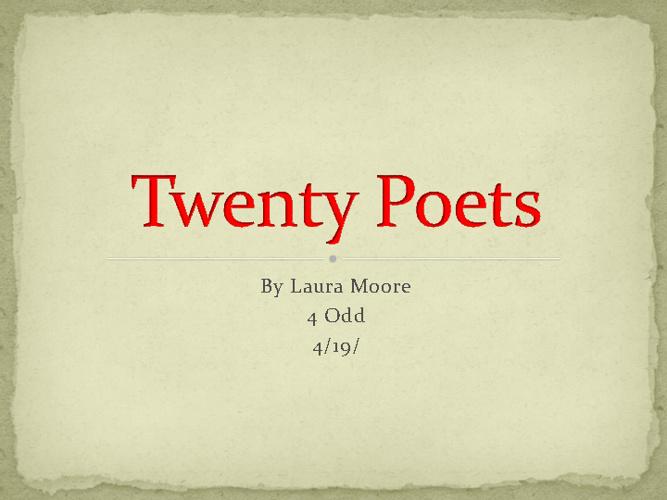 Twenty Poets, Laura Moore