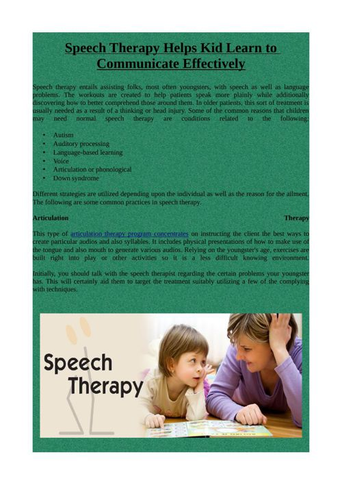 how to help kids with speech problems