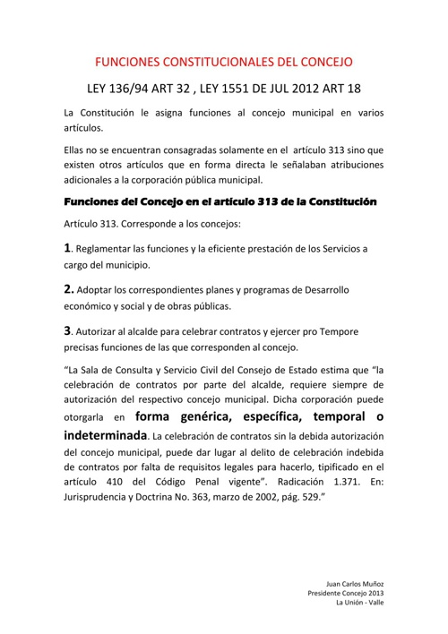 Funciones del Concejo II