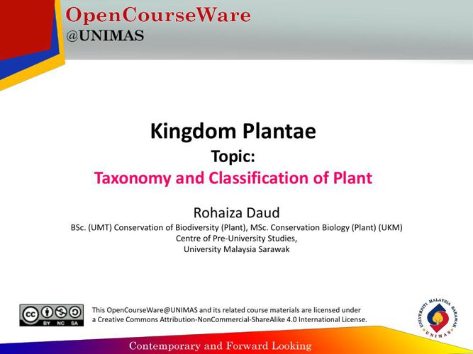 Taxonomy and Classifiation of Plant-OCW