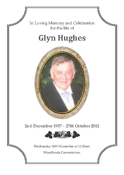 Glyn Hughes, Order of Service