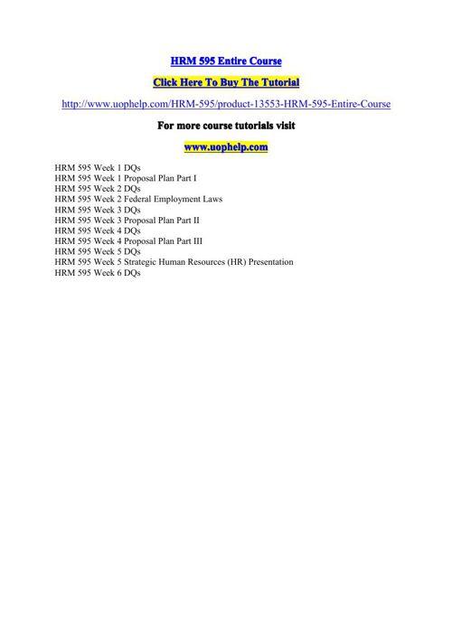 HRM 595 Entire Course