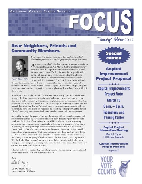 2017 February-March Focus & Proposed Capital Project Insert
