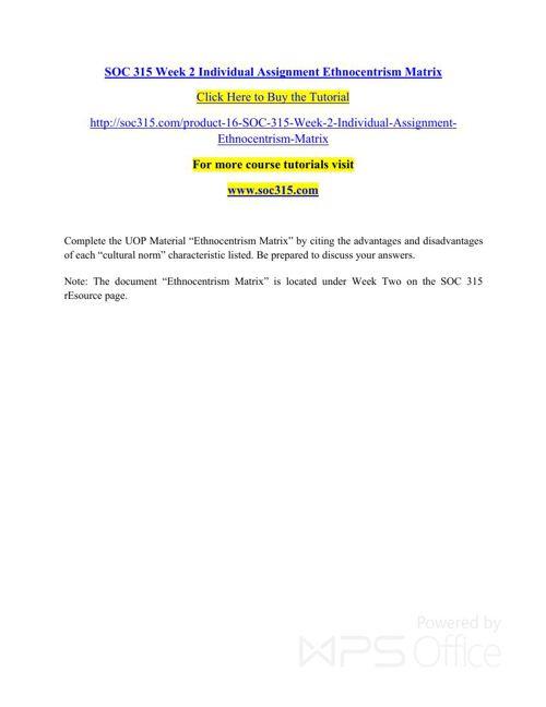 SOC 315 Week 2 Individual Assignment Ethnocentrism Matrix