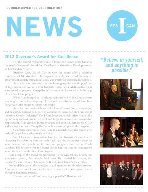 Yes I Can Newsletter - October, November, December 2012