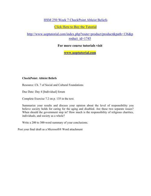 HSM 250 Week 7 CheckPoint Ableist Beliefs