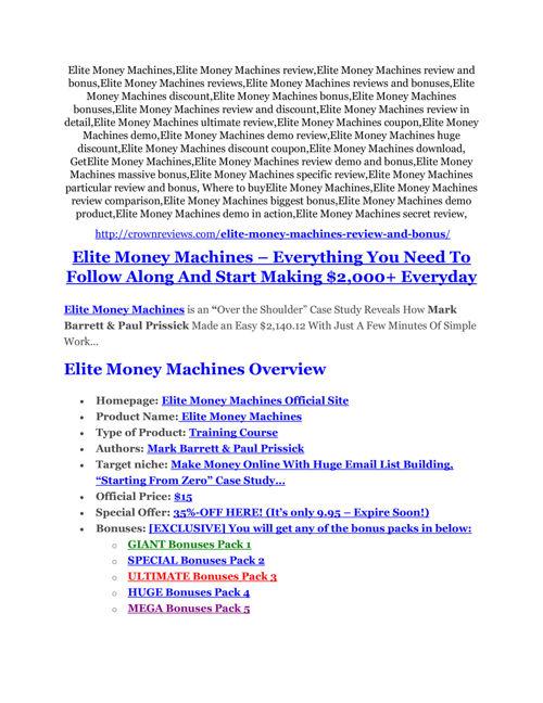 Elite Money Machines Review-$24,700 BONUS & DISCOUNT