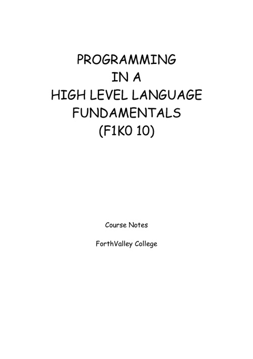Programming in a High Level Language