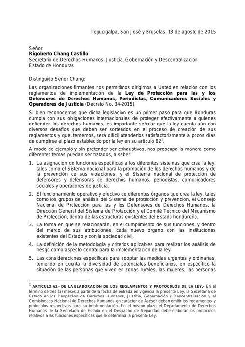 Carta ecretario de DDHH, Justicia, Gobernación y Descentralizaci