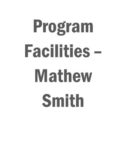 Standard 5: Prorgram Facilities