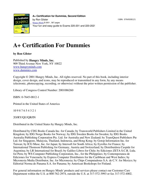 A+ Certification for Dummies 2nd Ed (2001)