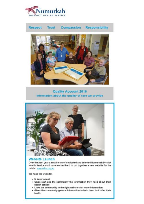 Numurkah District Health Service Quality Account 2016