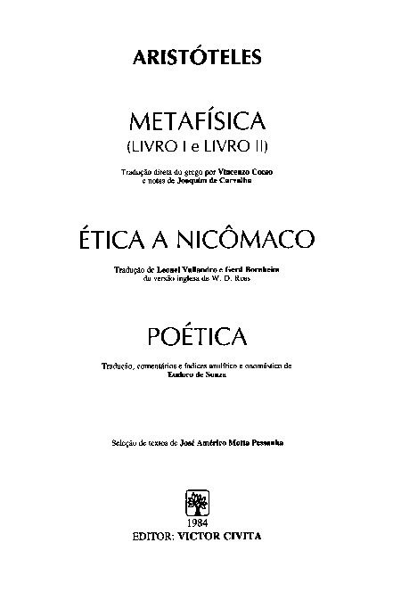 Metafísica - Aristótelis
