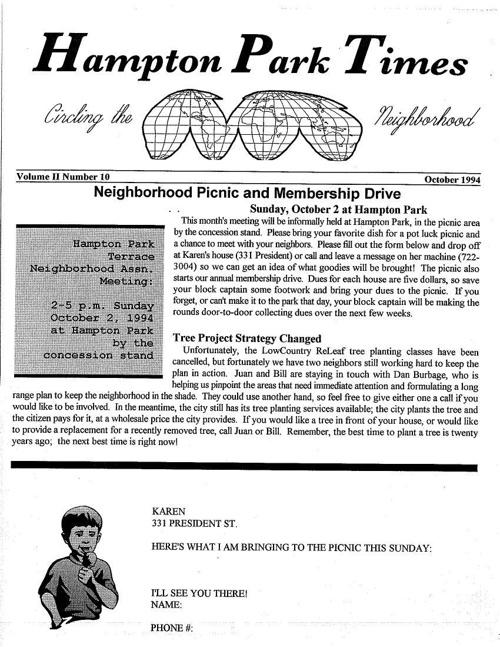 HPT Newsletter October 1994