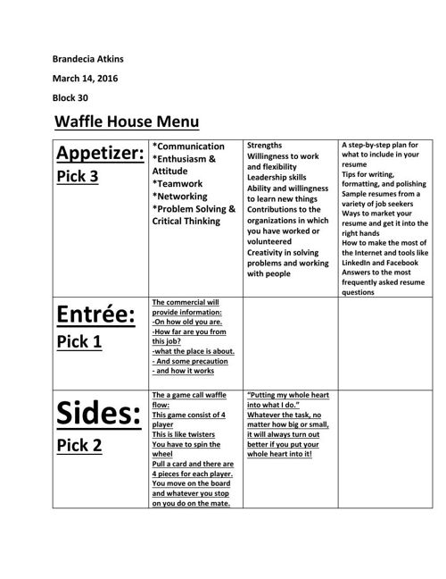Waffle House Student Samples