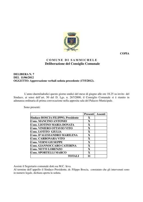 Delibere di Consiglio Comunale - 2012